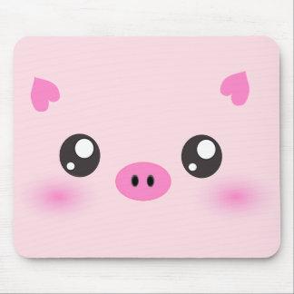 かわいいブタの顔-かわいいのミニマリズム マウスパッド