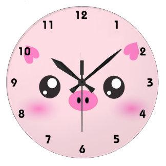 かわいいブタの顔-かわいいのミニマリズム ラージ壁時計