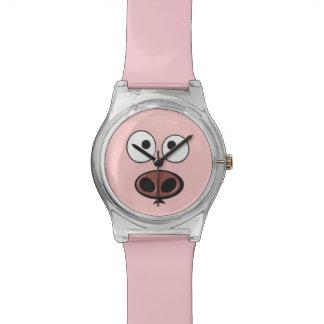 かわいいブタの顔 腕時計