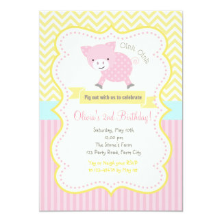 かわいいブタ/豚のようなパステル調の誕生日の招待状 12.7 X 17.8 インビテーションカード