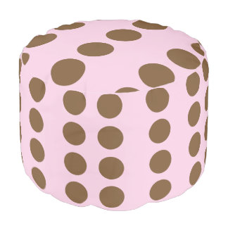 かわいいブラウンの点ピンク プーフ