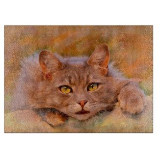 かわいいブラウン猫の水彩画の油絵の芸術 カッティングボード