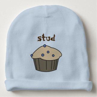 かわいいブルーベリーのマフィンの男の赤ちゃんの青の帽子 ベビービーニー
