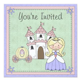 かわいいブロンドのプリンセスのおとぎ話の誕生日の招待状 13.3 スクエアインビテーションカード