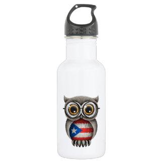 かわいいプエルトリコの旗のフクロウの身に着けているガラス ウォーターボトル