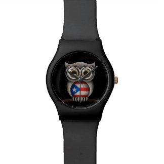かわいいプエルトリコの旗のフクロウの身に着けているガラス 腕時計