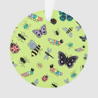 かわいいベクトル虫及び蝶(草色の背部) オーナメント