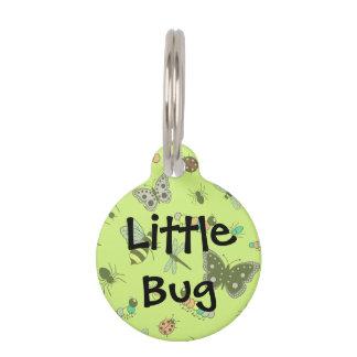 かわいいベクトル虫及び蝶(草色の背部) ペット ネームタグ