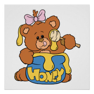 かわいいベビーのくまおよび蜂蜜 ポスター