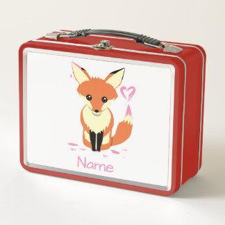 かわいいベビーのキツネはピンクのハートの名前の赤のランチボックスを絵を描きます メタルランチボックス