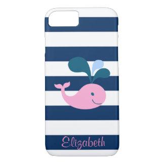 かわいいベビーのクジラ、ストライプ名前入りな濃紺 iPhone 8/7ケース