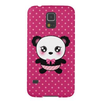 かわいいベビーのパンダくまのピンクの水玉模様パターン GALAXY S5 ケース