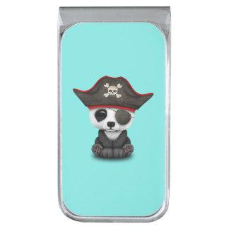 かわいいベビーのパンダの海賊 銀色 マネークリップ