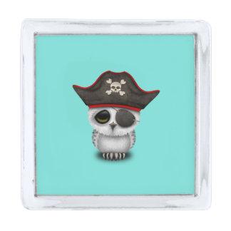 かわいいベビーのフクロウの海賊 銀色 ラペルピン