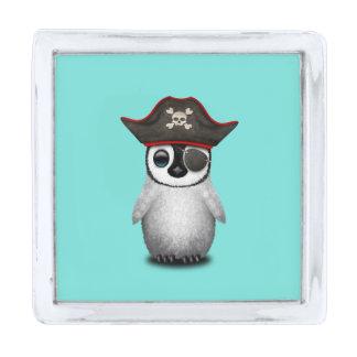 かわいいベビーのペンギンの海賊 銀色 ラペルピン
