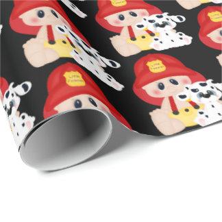 かわいいベビーの小さい消防士によってタイルを張られる包装紙 ラッピングペーパー