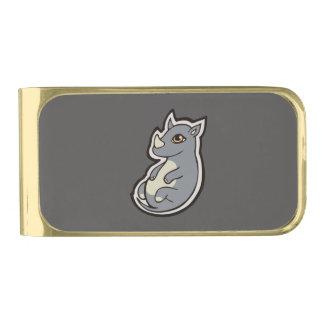 かわいいベビーの灰色のサイの大きい目インクスケッチのデザイン ゴールド マネークリップ