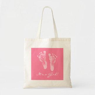 かわいいベビーシャワー女の子のピンクのベビーの足跡 トートバッグ