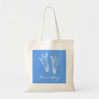かわいいベビーシャワー男の子の青色児の足跡 トートバッグ