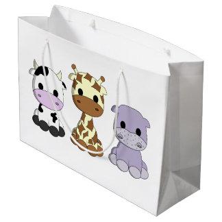 かわいいベビー牛キリンのカバの漫画の子供 ラージペーパーバッグ