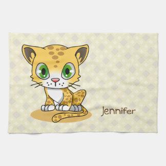 かわいいベビー猫のヒョウの漫画の名前の台所タオル キッチンタオル