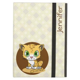 かわいいベビー猫のヒョウの漫画の名前はipadの場合をからかいます iPad airケース