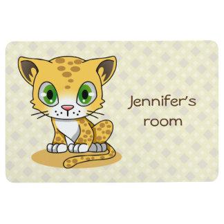かわいいベビー猫のヒョウの漫画は名前をからかいます フロアマット