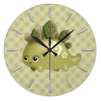 かわいいベビー葉が多いディーノ-かわいいは創造物のスタイルを作ります ラージ壁時計