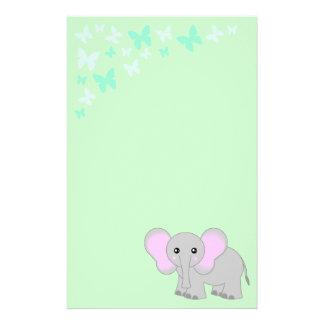かわいいベビー象および蝶文房具 便箋