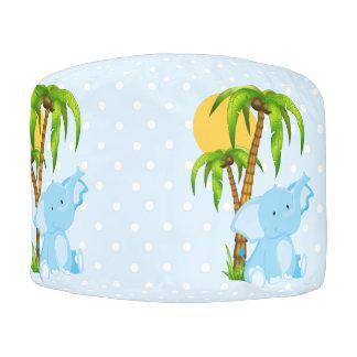かわいいベビー象の青い水玉模様のラウンドパフ プーフ
