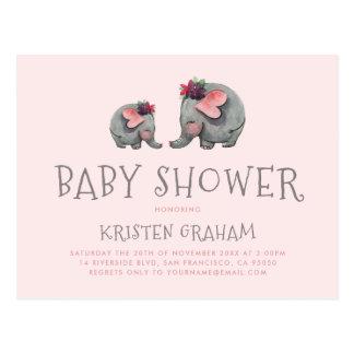 かわいいベビー象 のピンクの水彩画のベビーシャワー ポストカード