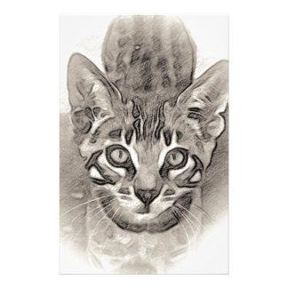 かわいいベンガルの子ネコのスケッチ 便箋