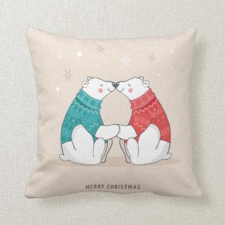 かわいいベージュクリスマスの白くま クッション