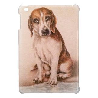 かわいいペットポートレート犬のブラウンのビーグル犬のスケッチ iPad MINIケース