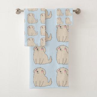 かわいいペット小犬のイラストレーション バスタオルセット