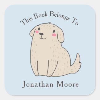 かわいいペット小犬の蔵書票 スクエアシール