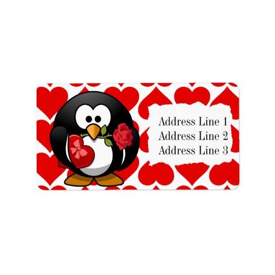 かわいいペンギンおよびハートのバレンタインの宛名ラベル ラベル