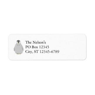 かわいいペンギンのひよこ 返信用宛名ラベル
