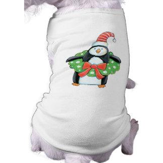 かわいいペンギンのクリスマス犬のTシャツ ペット服