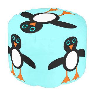 かわいいペンギンのラウンドパフ プーフ