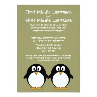 かわいいペンギンの結婚式招待状 12.7 X 17.8 インビテーションカード