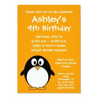 かわいいペンギンの誕生日のパーティの招待状 カード