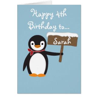 かわいいペンギンの身に着けているスカーフのデザイン カード