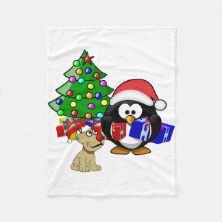 かわいいペンギンサンタおよびトナカイ犬 フリースブランケット