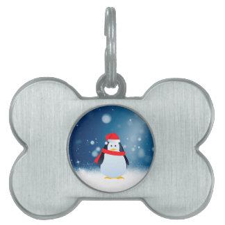 かわいいペンギンw赤いサンタの帽子のクリスマスの雪は主演します ペットネームタグ