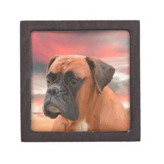 かわいいボクサー犬水色の油絵の芸術 ギフトボックス