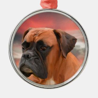 かわいいボクサー犬水色の油絵の芸術 メタルオーナメント