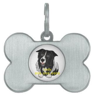 かわいいボーダーコリー犬の芸術 ペットネームタグ
