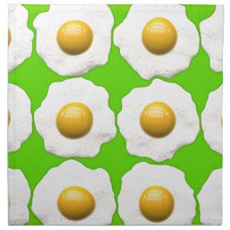 かわいいポップアートはライムグリーンの背景で卵を投げつけます ナプキンクロス