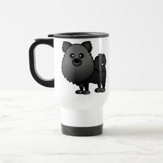 かわいいポメラニア犬の漫画-黒 トラベルマグ